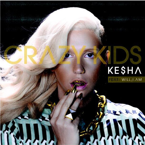 "Ke$ha ditches the glitter in favor of an all-gold look on the cover art for her new single ""Crazy Kids."" [Image from style.mtv.com]"