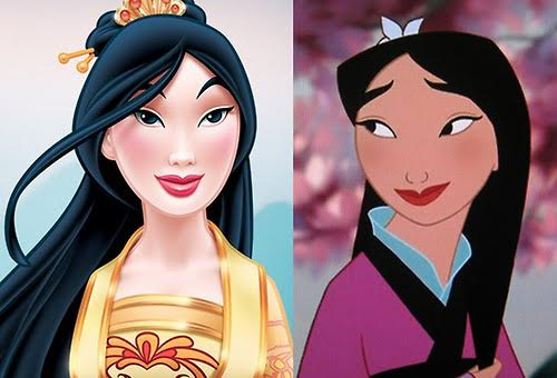 Image from  http://thelearnedfangirl.com/2013/02/why-the-disney-princess-redesign-of-mulan-is-problematic/